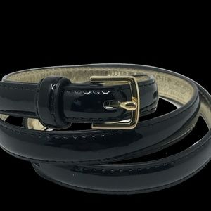 Womens Patent Black and GoldSkinny  1/2 in Belt